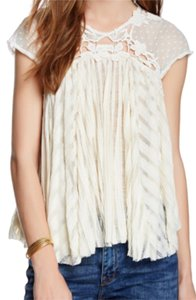 Free People Boho Lace Ivory Festival Top Eggshell