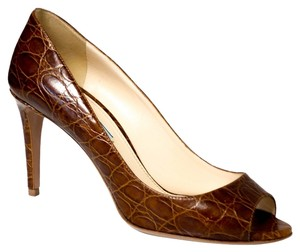 Prada 1k6160 Open Toe Brown Pumps