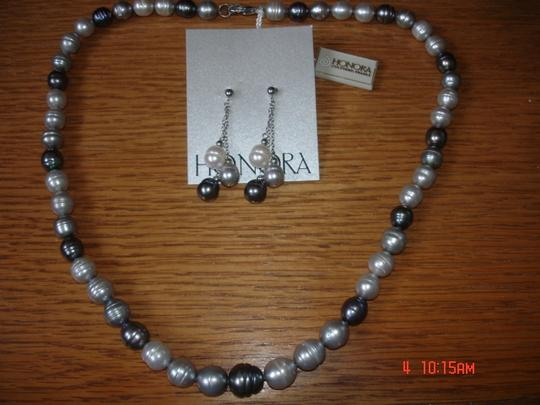 Honora Pearls HONORA FRESHWATER PEARLS JET, BLK, GRAY, WHITE EARRINGS & NECKLACE SET