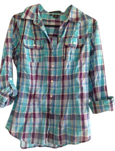 Sandra Ingrish Button Down Shirt Light blue/Purple Plaid