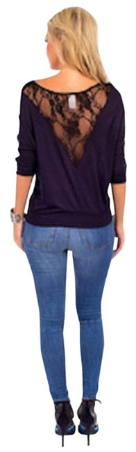 Item - Navy W Womens W/ Lace New Small Brand Blouse Size 6 (S)
