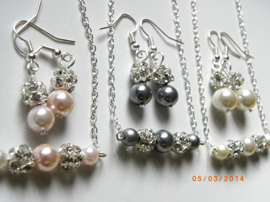 Other Sale Set Of 7 Bridesmaid Set Necklace And Earrings Set Of 7 Greay Pearl Earrings Bridal Jewelry Rhinestone Crystal
