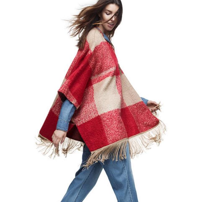 Item - Mohair Fringe Poncho Red/Tan Plaid Sweater