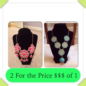 BUBBLE HOT PINK & Blue Turquoise NECKLACE