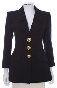 Saint Laurent Wool Gold Italian Hearts Designer Black Blazer