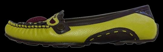 BCBGMAXAZRIA Chartreuse Moccasin Studded Embellished Driving Funky Lemongrass Flats