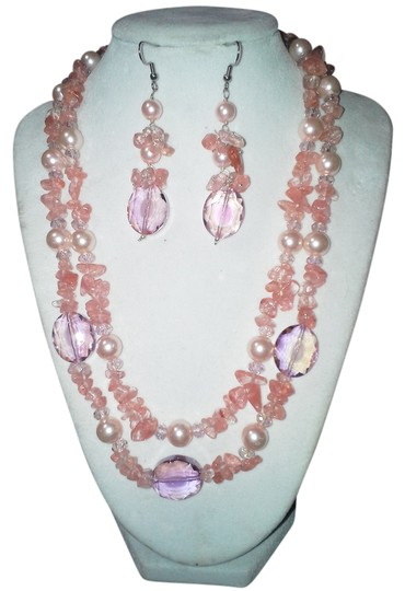 unknown Strawberry Quartz & Crystal Necklace Set