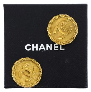 Chanel Gold Round Logo Clip-On Earrings