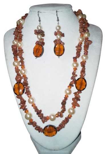 unknown Red Goldstone, Crystal Necklace Set