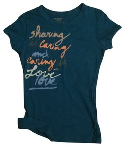 American Eagle Outfitters Sharing Is Love T Shirt Teal