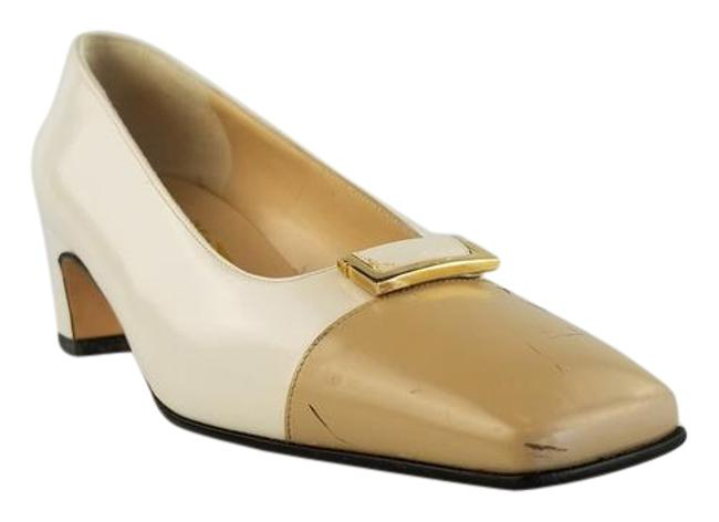 Item - Cream and Beige Buckle Cap Toe Leather Pumps Size US 5 Wide (C, D)