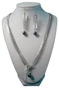 Unknown Fishbone Style Purple Peacock Pearl Necklace Set