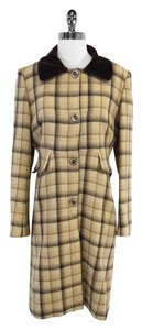 Tara Jarmon Cream Brown Plaid Wool Coat