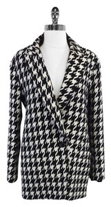 Theory Black White Houdstooth Wool Blend Coat