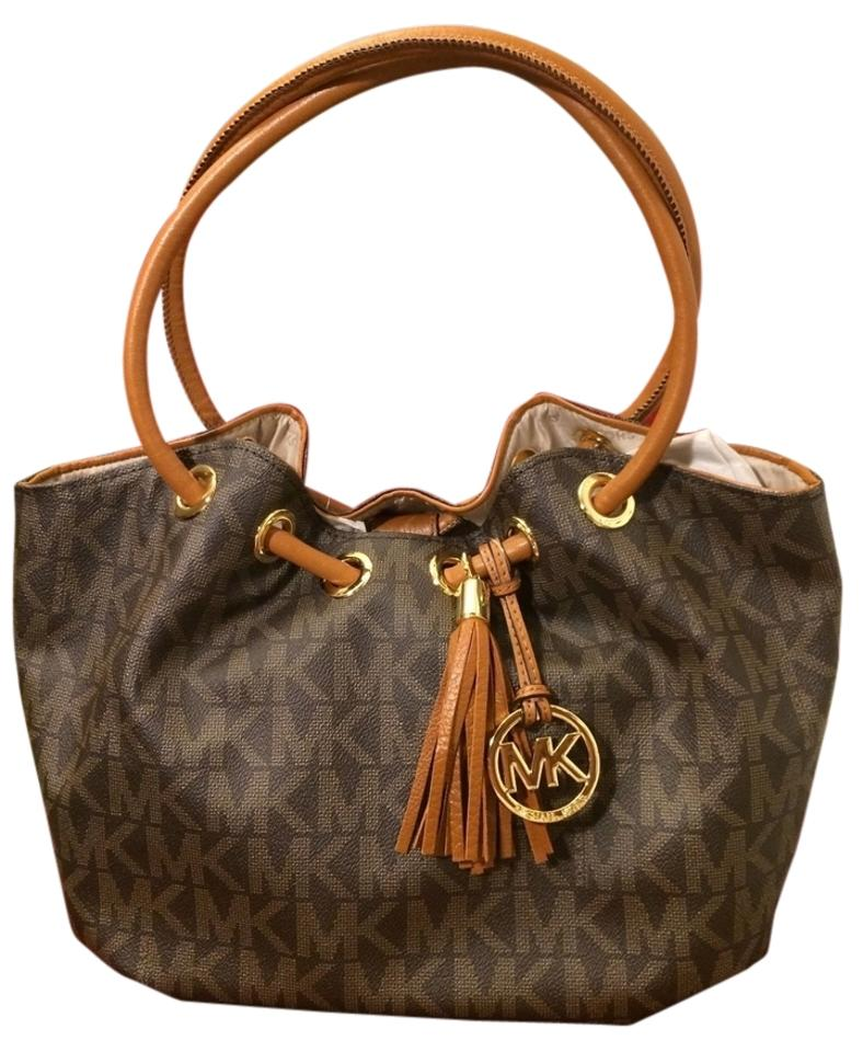 1ea80ac3e588 Michael Kors Medium East West Signature Jacquard Ring Tote Luggage/Brown  Brown Canvas Shoulder Bag