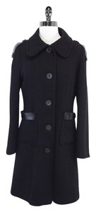 Mackage Black Wool Leather Coat