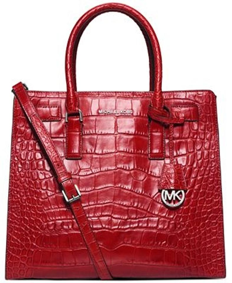 957b78ff73a5 Michael Kors Dillon Croc Embossed Leather Grey Large North South Tote  Satchel in Deep Red Image. 123456789101112