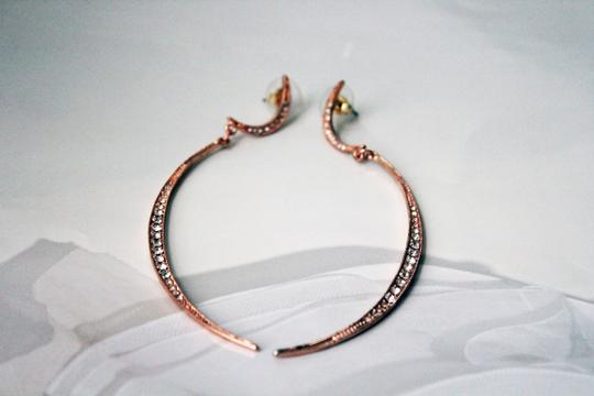 Rose Gold Crystal Covered Eclipse Dangle Earrings. Rosegold Crystal Covered Eclipse Dangle Earrings
