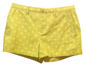 Madewell Summer Spring High Waist Mini/Short Shorts Green & White Polka Dot