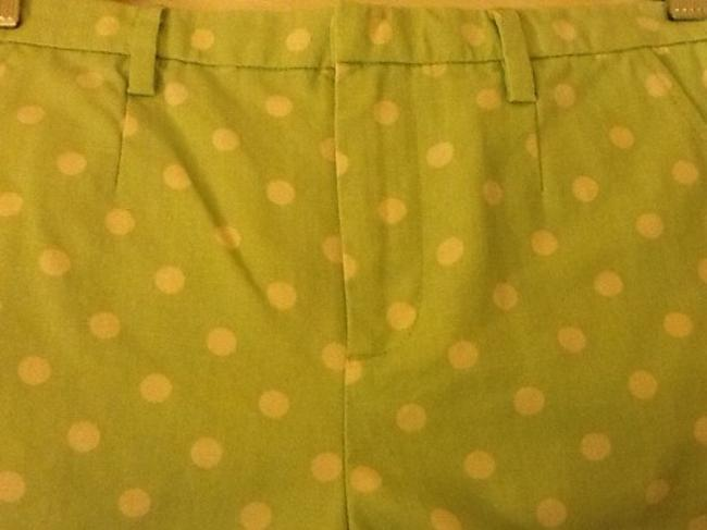 Madewell Art Summer Spring High Waist Mini/Short Shorts Green & White Polka Dot
