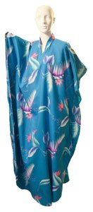 Blue Maxi Dress by Hawaiian Caftan V-neck Oversized Silk Tunic Beaded Jacquard Embroidered