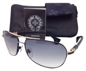 Chrome Hearts New CHROME HEARTS Sunglasses GRAND BEAST MBK/GP-MBK-P Black & Gold Aviator Frame