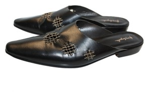 Henry Beguelin Leather Handcrafted Handmade Black Mules
