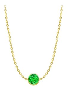 LoveBrightJewelry Diamond By The Yard Frosted Emerald Necklace on 14K Yellow Gold Bezel Set 1.00 ct.tw