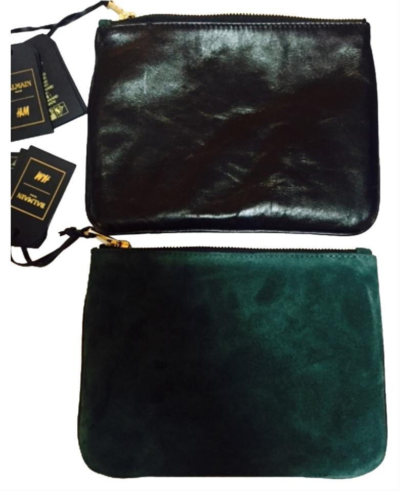 a7794a5b2a76 Balmain x H M Green Black Leather Clutch - Tradesy