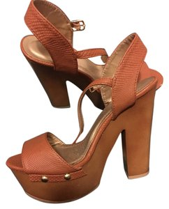 Charlotte Russe Vintage Leather brown Platforms