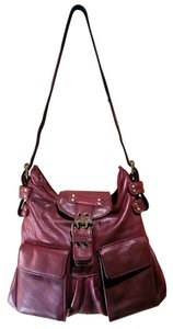 BCBGMAXAZRIA Buckles Front Flap Pebbled Leather Metal Zippers Logo Linining Adjustable Strap Vintage Style Shoulder Bag
