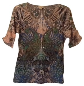 One World (live and let live) Top Neutrals, blue, green