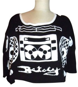 Betsey Johnson Black Radio Boombox Sweater