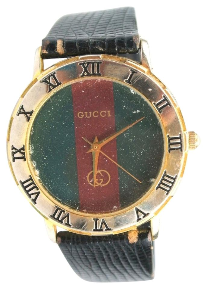 aefdc6bd833 Gucci Gucci Vintage Gold Plated Green Red Stripe Watch 3000 m Image 0 ...