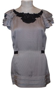 Leifsdottir Romantic Lace Tie Back Quirky Top Black and white