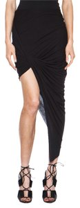 Helmut Lang Kinetic Jersey Asymmetric Skirt Black