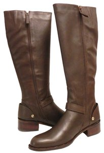 Delman Riding Tall Goldtone Hardware Size 7.5 Espresso Boots