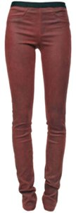 Helmut Lang Leather Legging Burgundy Skinny Pants