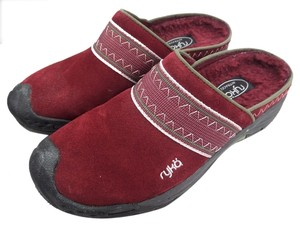 Ryka 5.5 Suede Leather Burgundy Mules