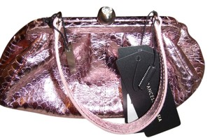 Francesco Biasia Snakeskin Small Clutch Designer Evening Silver Hardware Classic Italian Luxury Crystal Satchel in Pink