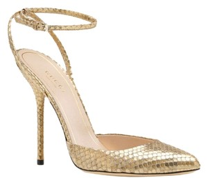 Gucci Snakeskin Gold Pumps