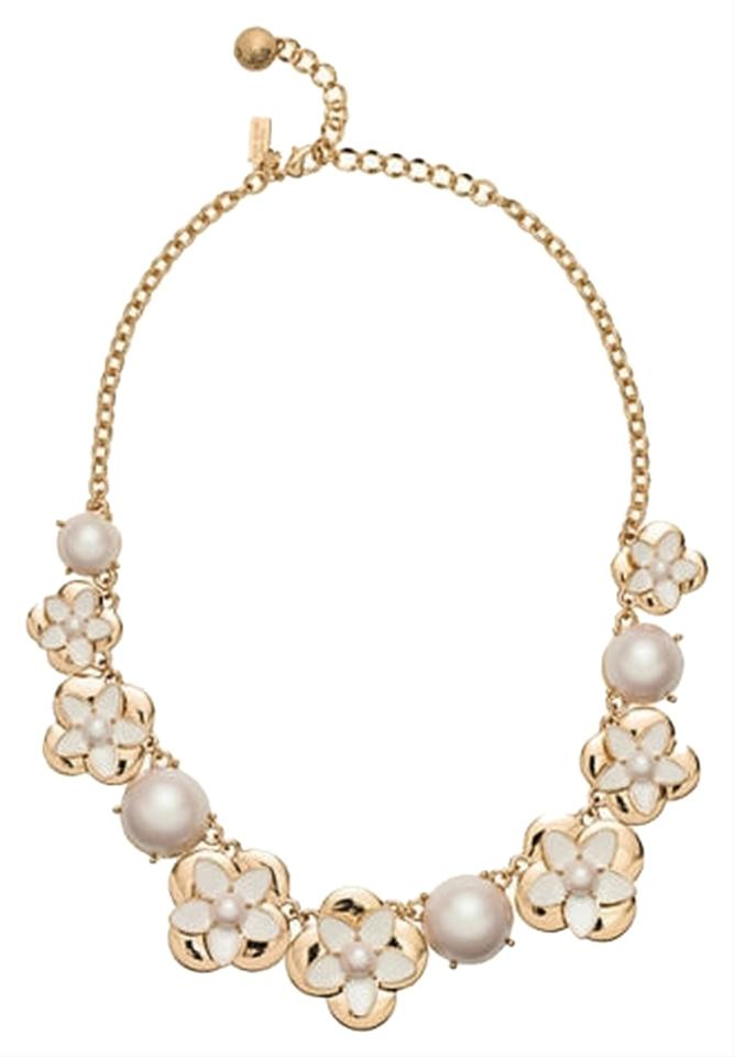 5387c257e018b Kate Spade 12k Gold Plate - Pearl - Crystal Office To Evening Window Seat  Whimsical & Modern Floral Fancy Necklace