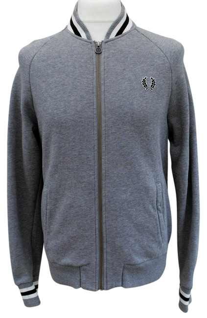 Item - Grey Classic Knit Bomber Activewear Outerwear Size 12 (L, 32, 33)