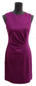 Elie Tahari Sheath Straight Stretch Material Gathered Side Jewel Neckline Dress