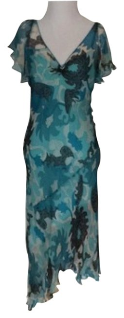 Laundry by Shelli Segal Turquoise Print Cocktail Dress Size 6 (S) Laundry by Shelli Segal Turquoise Print Cocktail Dress Size 6 (S) Image 1