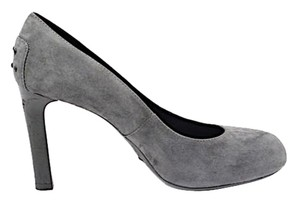 Tod's Tods Pump Stacked Heel Gray Suede Pumps