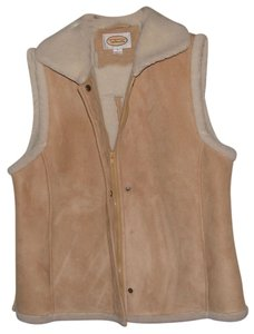 Talbots Spring Summer Tan Fur Classic Large 14 12 Vest