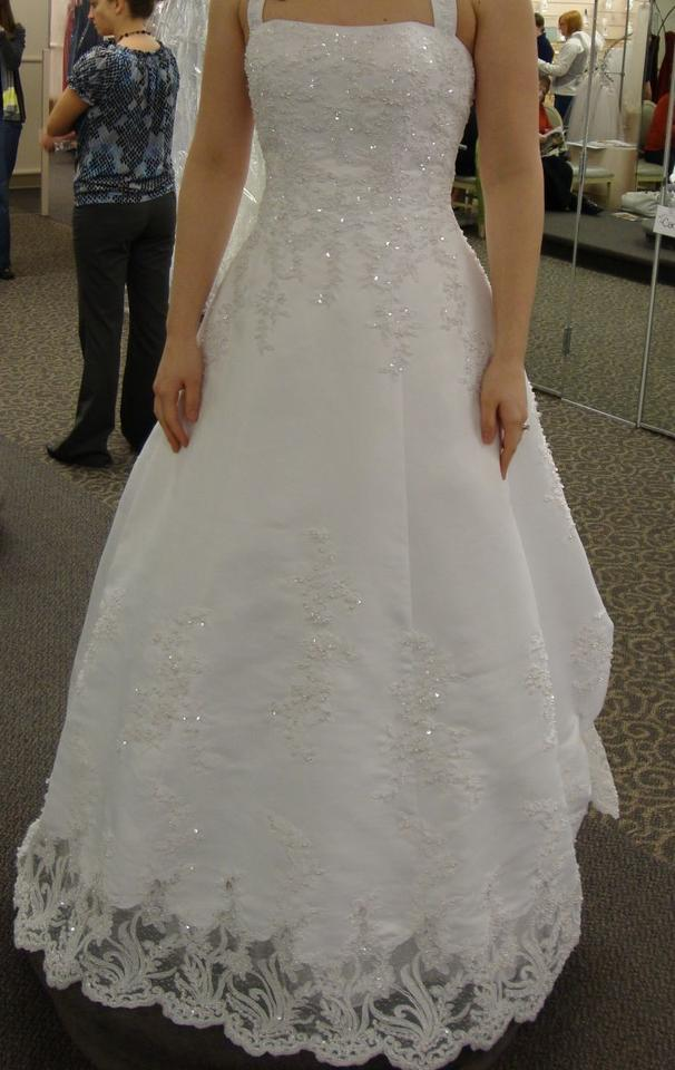 David S Bridal Satin Halter Aline Gown With Beaded Lace