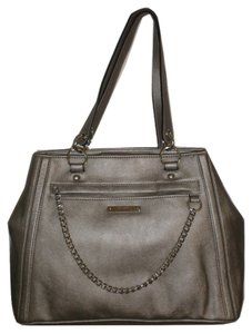 Nine West Hardware Chain Front Flap Satchel in Silver