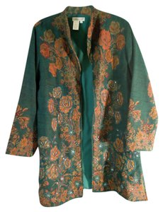 Coldwater Creek Longsleeve Floral Wool teal and multi Blazer